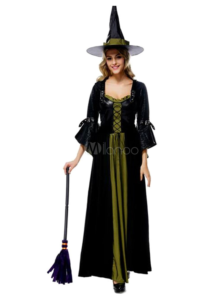 Halloween Witch Costume Women's Contrast Color Flare Sleeve Sexy Costume Dress Halloween