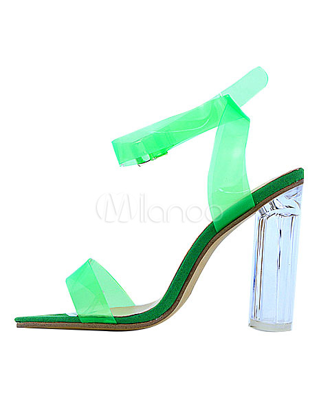 Buy Black Jelly Sandals High Heel Ankle Strap Women's Clear Shoes for $47.99 in Milanoo store