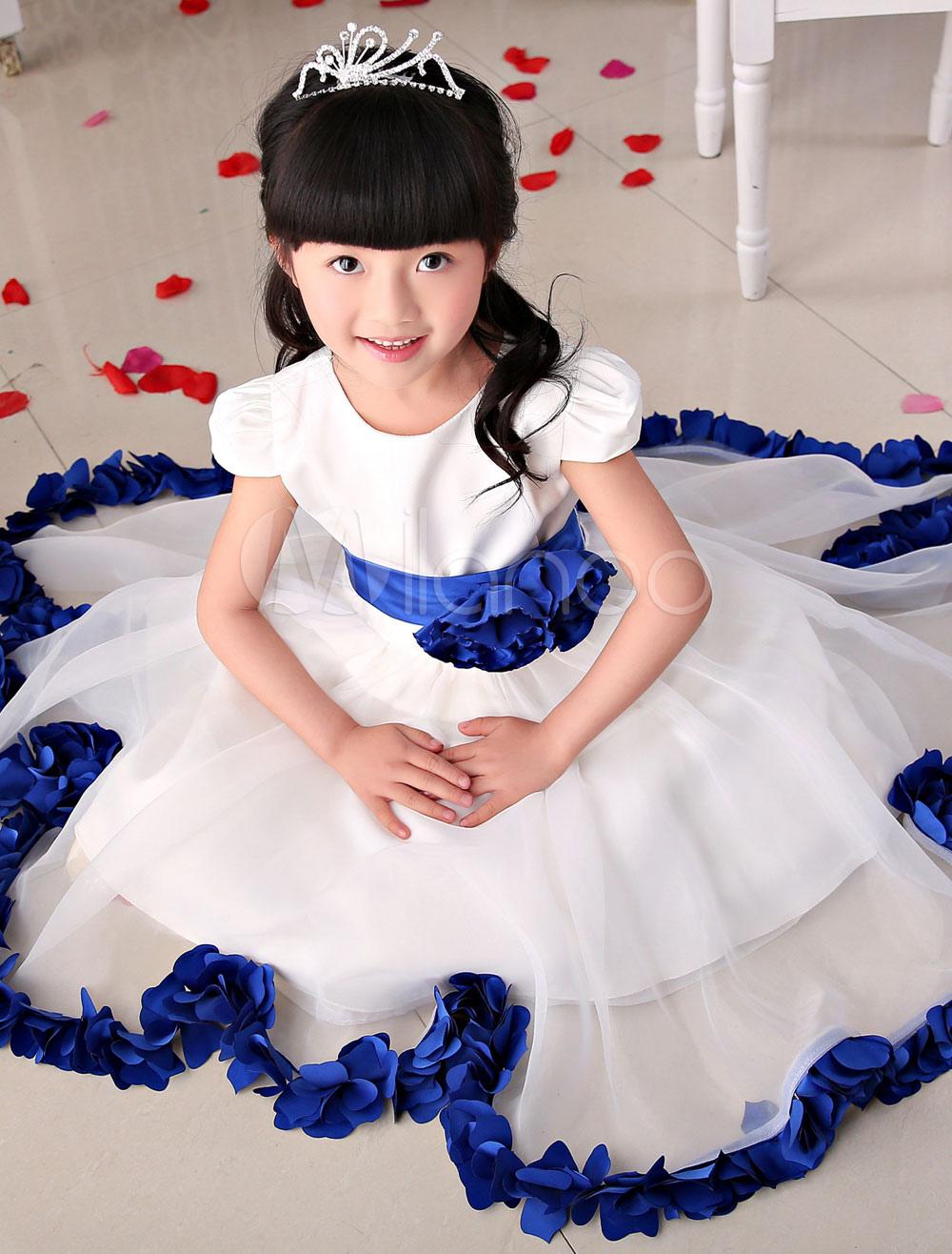 Flower Girl Dresses Ivory Organza Short Sleeve Blue Applique Flower A Line Tea Length Ball Gown Dress With Satin Sash