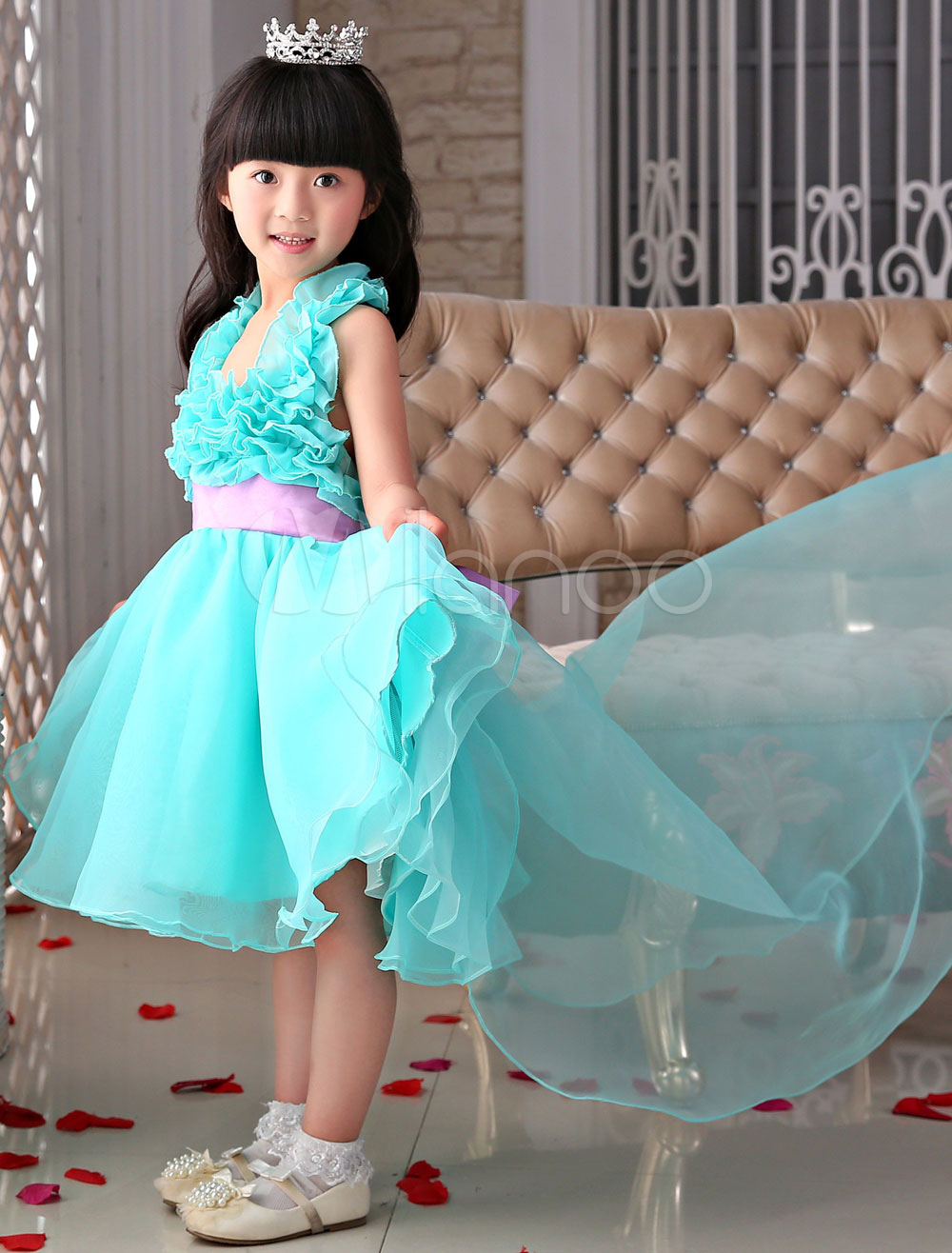 Flower Girl Dresses Blue Organza Ruffled Halter A-Line Pageant Dresses With Train
