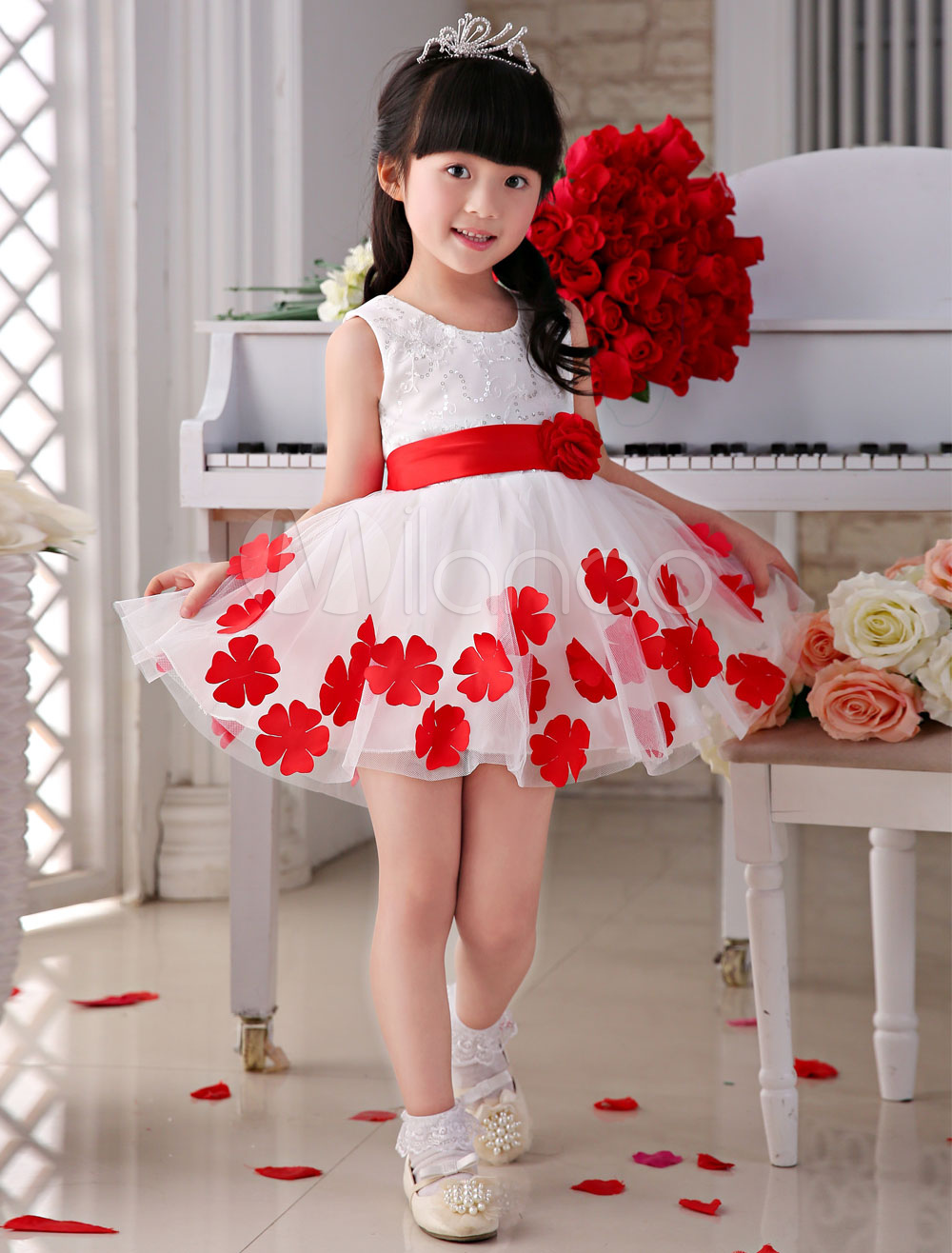 Buy Flower Girl Dresses Ivory Tea-Length Flowers Applique A-Line Sweet Pageant Dresses for $47.49 in Milanoo store