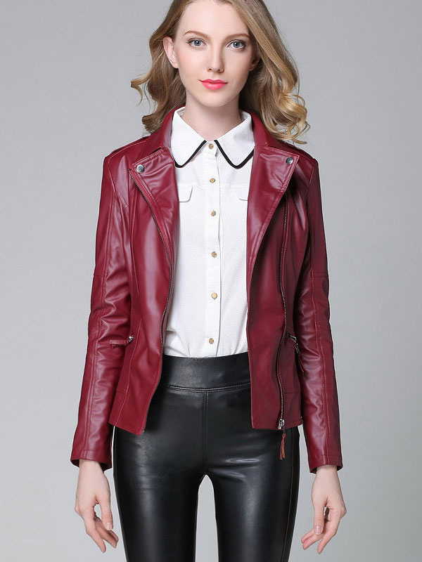 Women Leather Jacket Motorcycle Jacket Burgundy Long Sleeve Zip Up Biker Jacket Cheap clothes, free shipping worldwide
