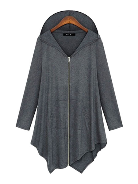 Full Zip Hoodie Women Gray Hooded Asymmetrical Lightweight Hoodie Jacket Cheap clothes, free shipping worldwide