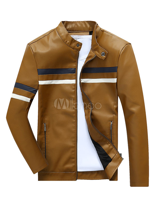 Buy Men's Leather Jacket Stand Collar Long Sleeve Khaki Jacket Coat for $38.99 in Milanoo store