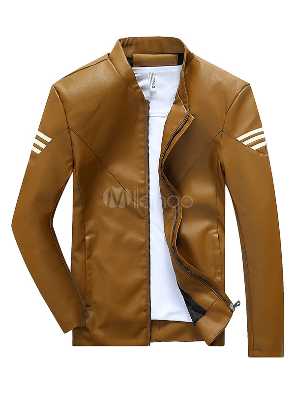 Wolverine Style Brown Men's Jacket PU Leather Zip Up Striped Slim Fit Casual Short Jacket