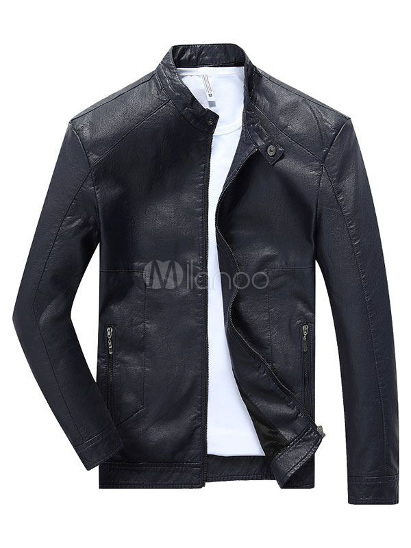 Men's Short Jacket PU Leather Lined Slim Fit Thick Casual Jacket