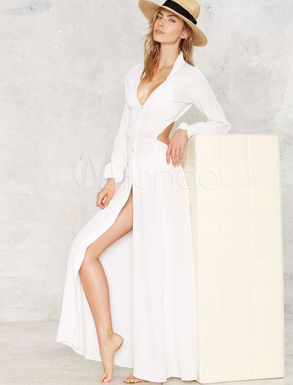 Weißen Maxi-Kleid Langarm V-Ausschnitt ausschneiden Schlitz lange ...