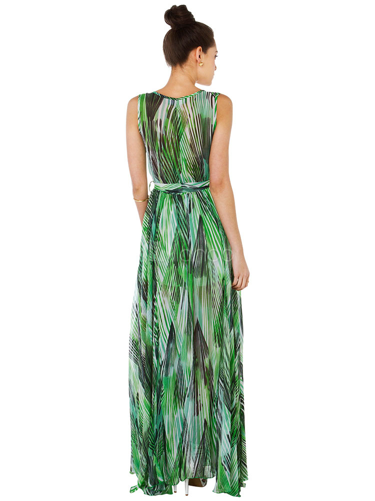 Maxi-Kleid Floral Print V-Ausschnitt ärmellos Schlitz Frauen lange ...