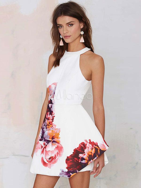 White Skater Dress Floral Print Sleeveless Halter Backless Short Flare Dress