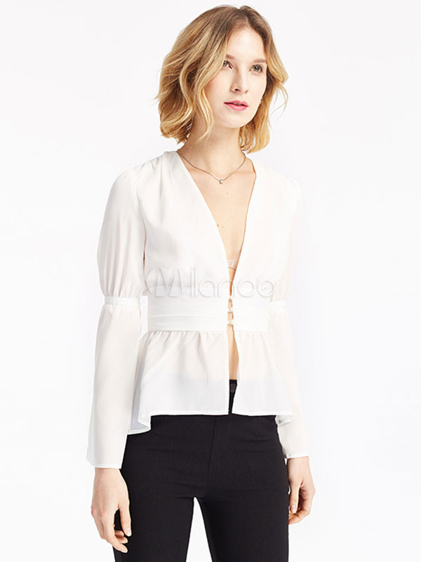 Buy Chiffon White Blouses Long Sleeve Plunging Cut Out Semi-Sheer Women's Top for $26.99 in Milanoo store