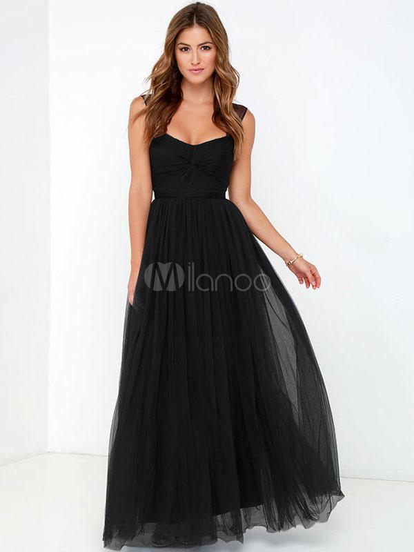 ad9f05d96 Organza vestido Maxi preto sem mangas torcido vestido longo plissado  feminino-No.1 ...