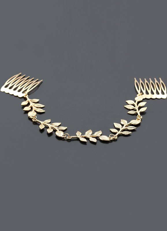 Gold Wedding Headpieces Alloy Beach Bridal Head Chain Jewelry With Comb
