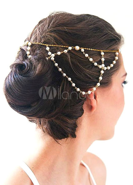 Buy Boho Wedding Headpieces Head Chain Pearls Gold Bridal Hair Accessories for $9.99 in Milanoo store