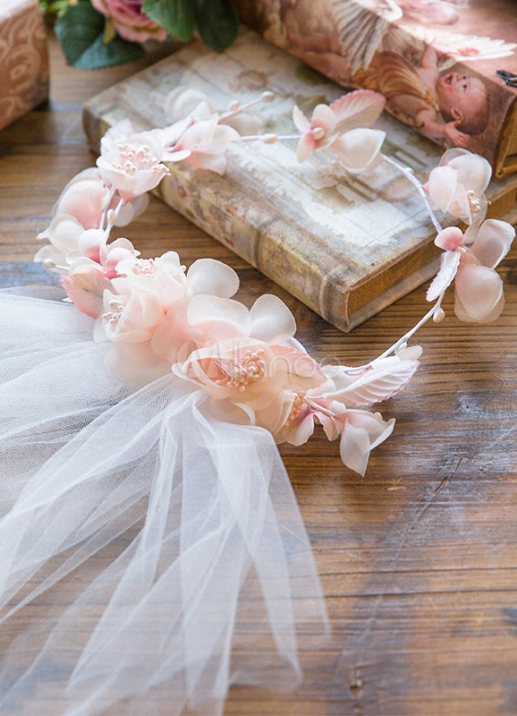 Buy 2-tier Wedding Veil Cut Edge Tulle Bridal Veil With Pink Flowers for $28.79 in Milanoo store