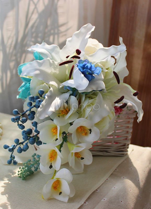 White Wedding Bouquet Cascading Ribbons Fabulous Silk Flowers
