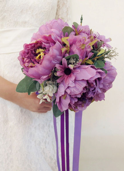 Buy Purple Wedding Bouquet Ribbons Fantastic Bridal Silk Flowers for $39.99 in Milanoo store