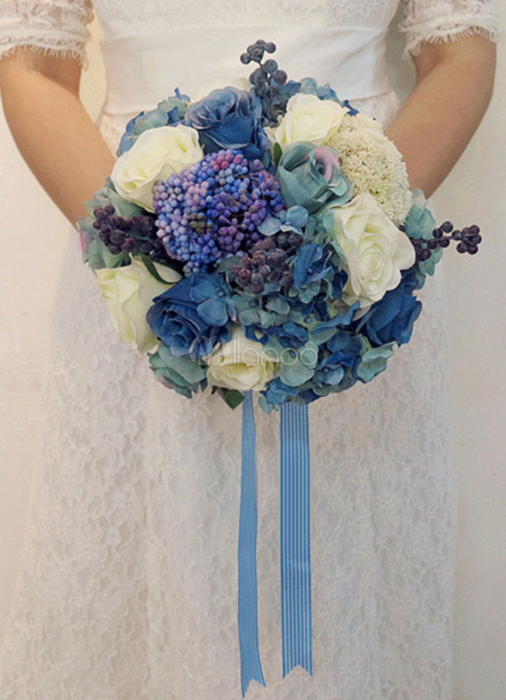 Bouquet Blu Sposa.Blue Wedding Bouquet Rose Ribbons Gorgeous Silk Bridal Flowers
