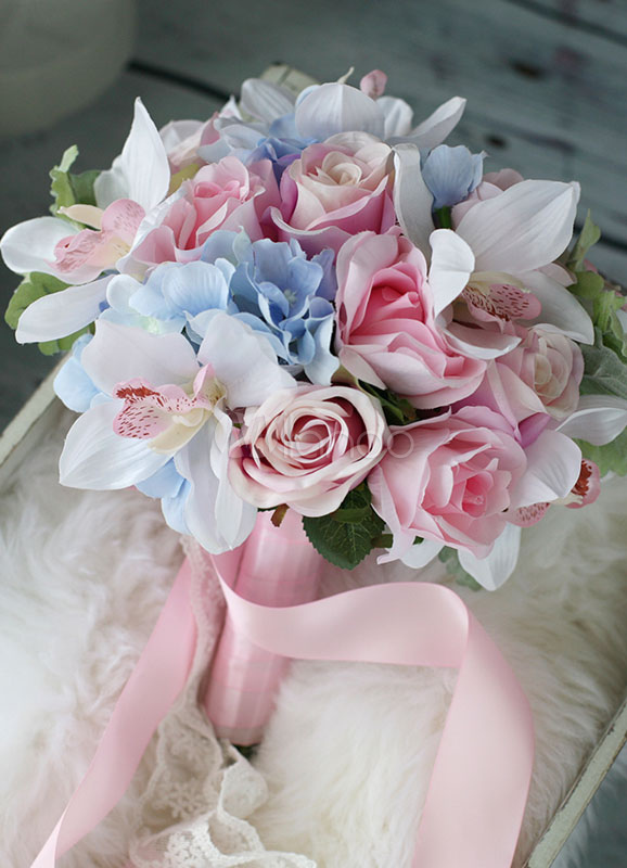 Buy Wedding Flowers Bouquet Pink Blue Lace Ribbons Round Bridal Silk Flowers for $64.99 in Milanoo store