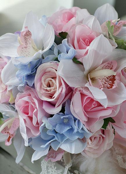 Hochzeit Blumen Strauss Rosa Blau Spitzenbander Runde Braut