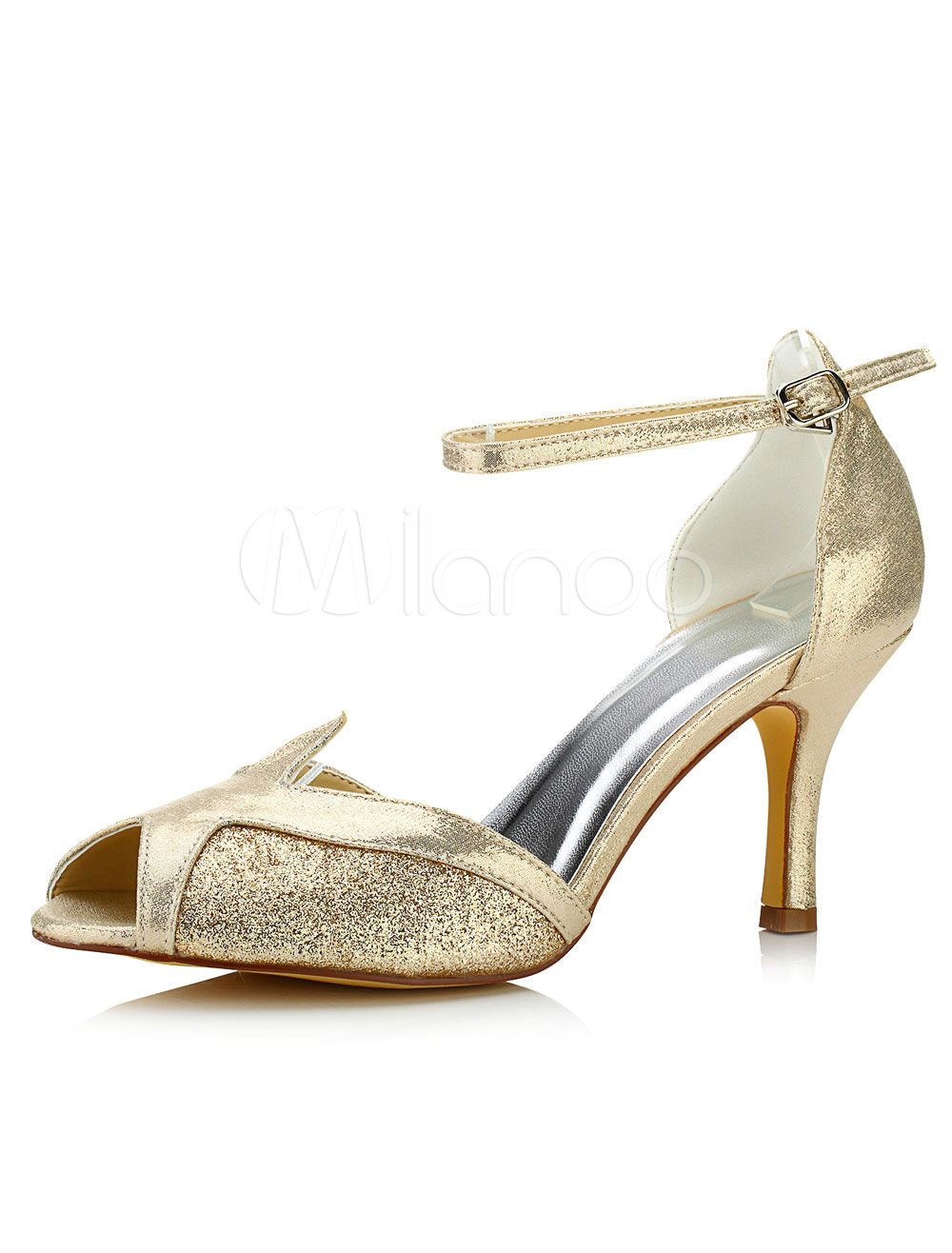 Buy Champagne Wedding Shoes High Heel Peep Ankle Strap Glitter Bridal Shoes for $51.29 in Milanoo store