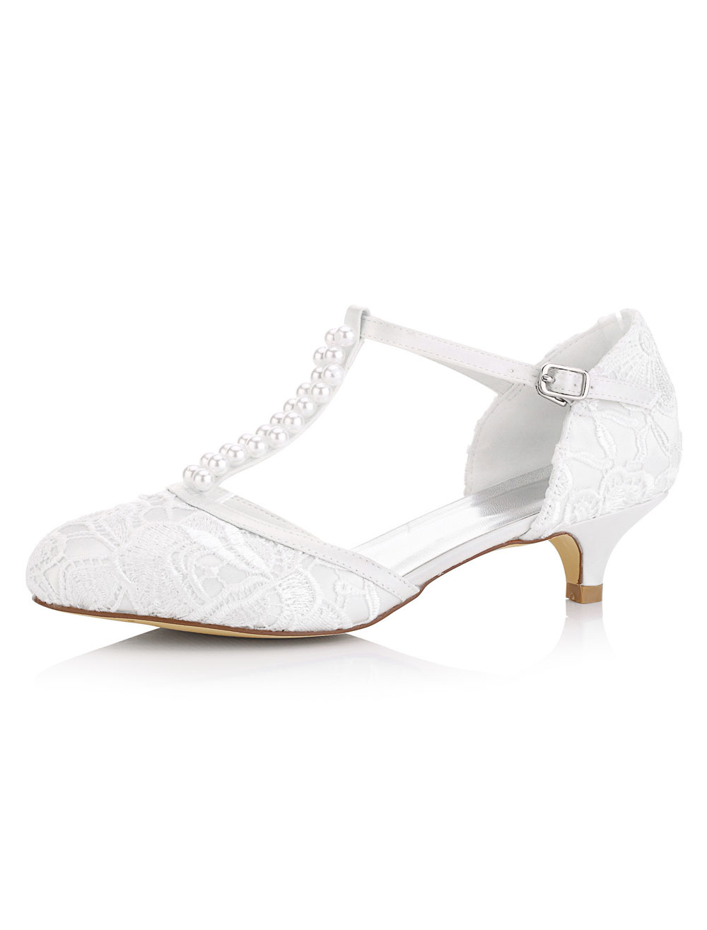 White Wedding Shoes Kitten Heel Pearls Satin T-Type Bridal Shoes Vintage Shoes
