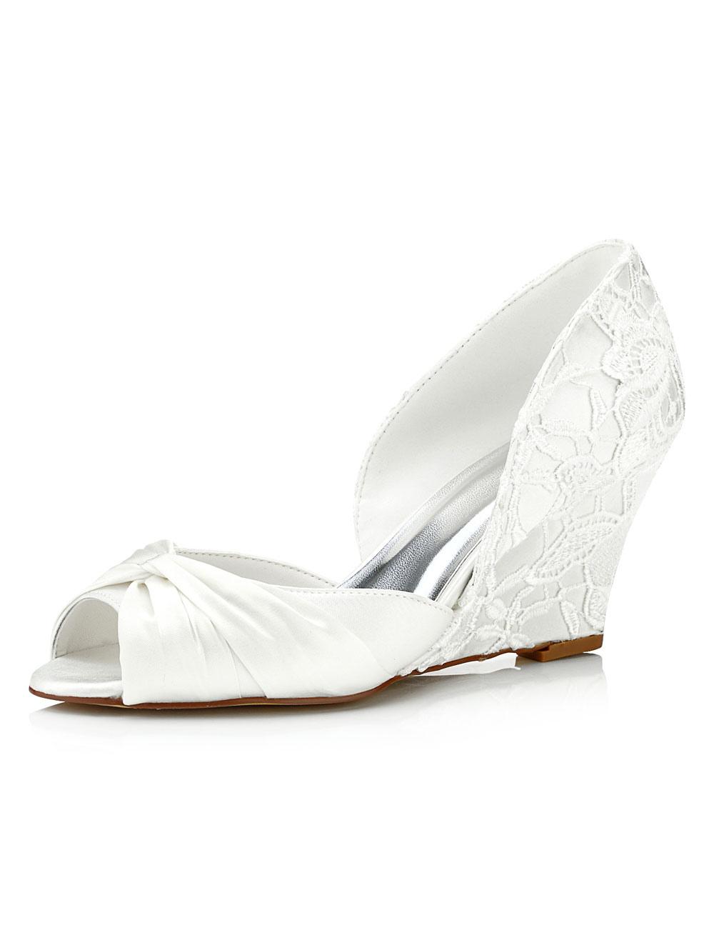 Lace Bridal Shoes Ivory Wedge Peep Twisted Slip-on Wedding Shoes