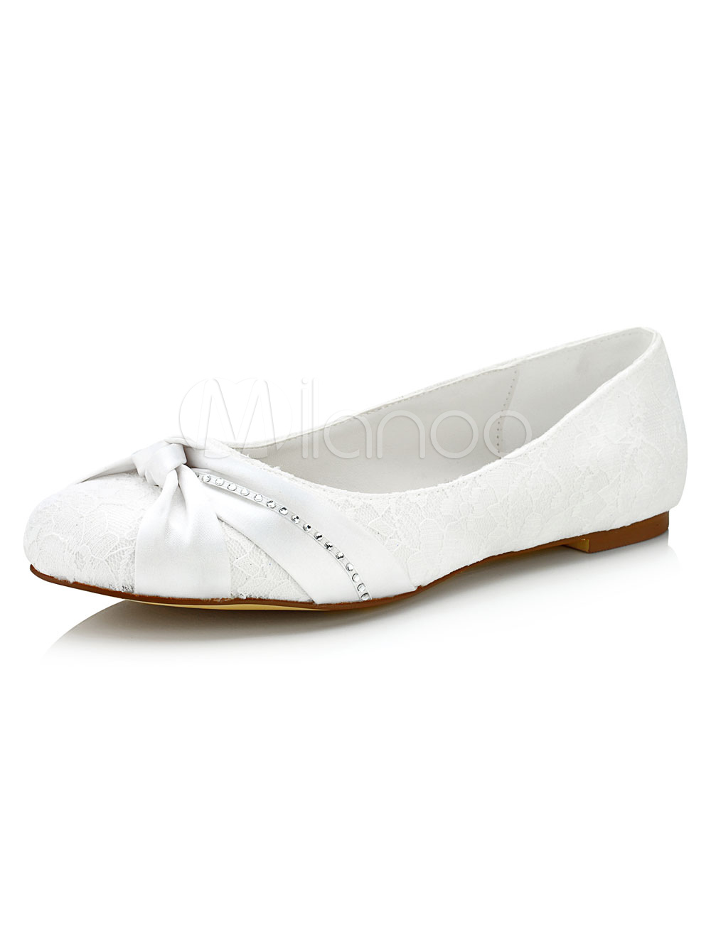 Lace Wedding Shoes Flat Knotted Round Toe Slip-on Bridal Shoes