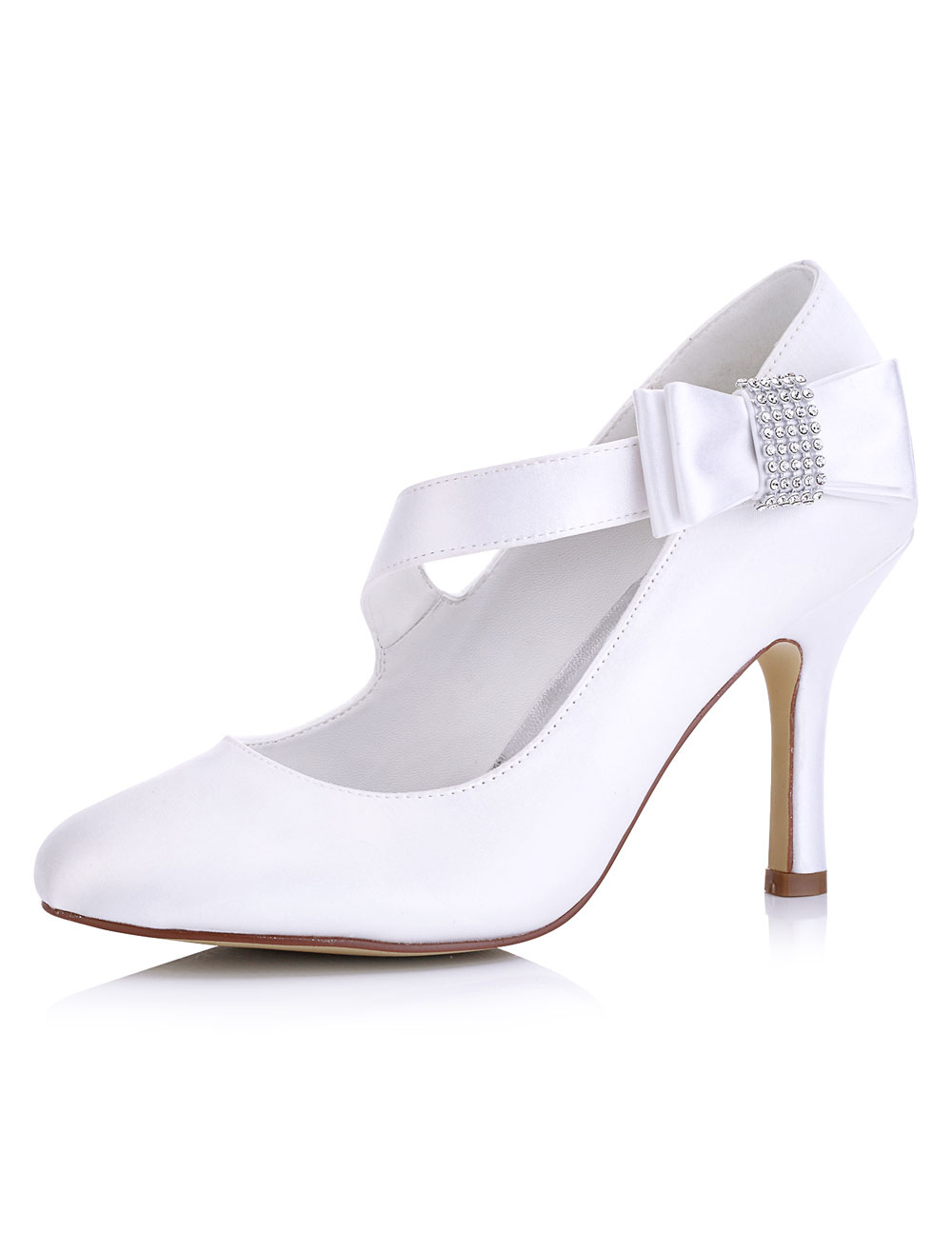 Vintage Bridal Shoes White High Heel Mary Jane Pumps Round Toe Bow Wedding Shoes
