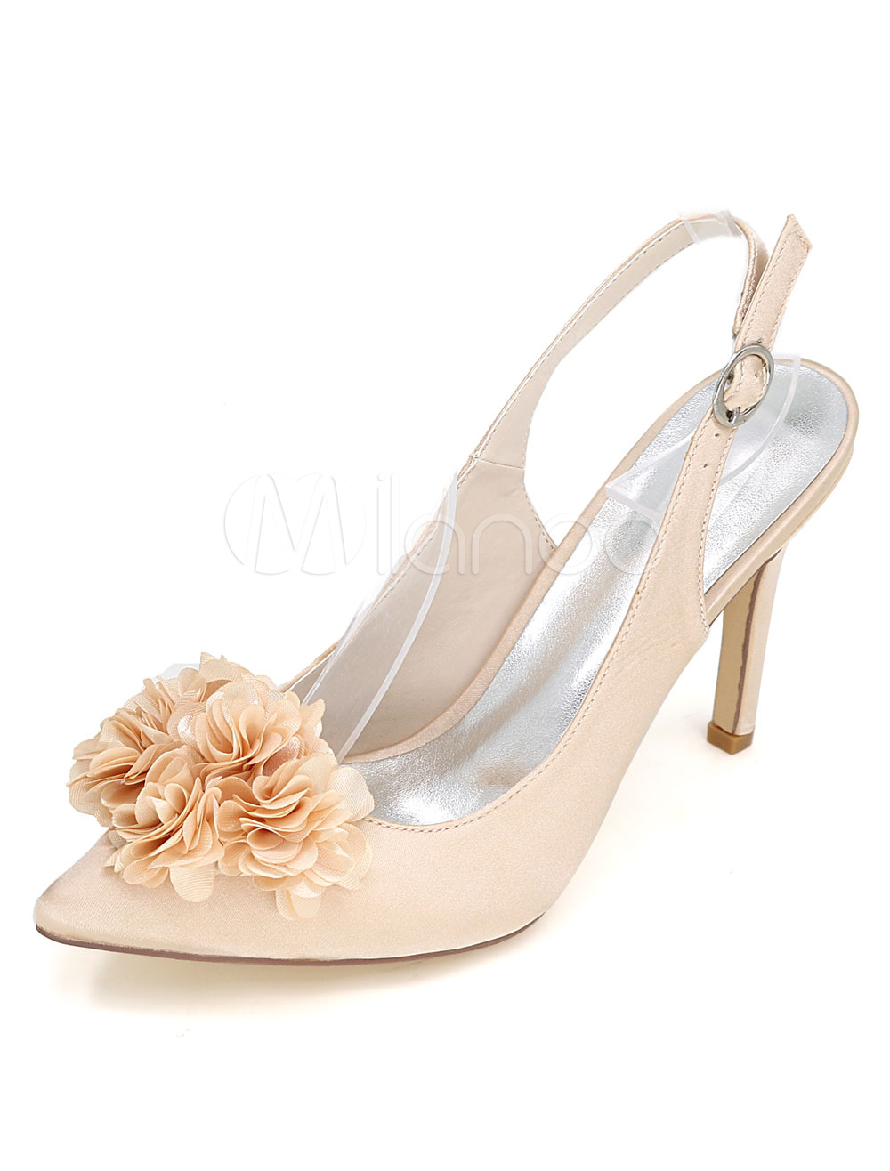 Buy Champagne Wedding Shoes High Heel Pumps Pointed Toe Slingbacks Flower Satin Bridal Shoes for $45.59 in Milanoo store