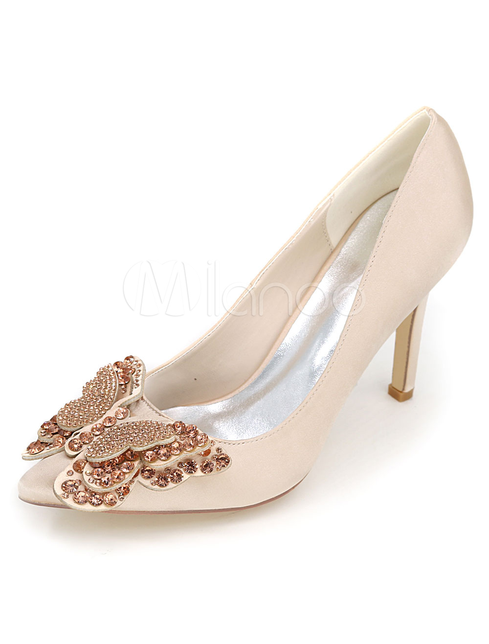 Buy Champagne Wedding Shoes High Heel Pumps Satin Slip On Pointed Toe Rhinestones Butterfly Bridal Shoes for $51.29 in Milanoo store
