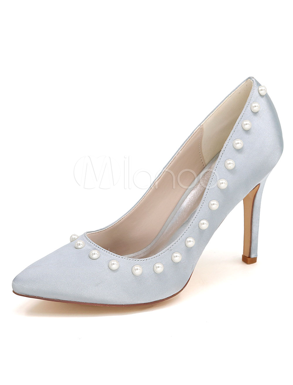 Buy Silver Wedding Shoes High Heel Pearl Satin Slip-On Bridal Shoes for $47.69 in Milanoo store