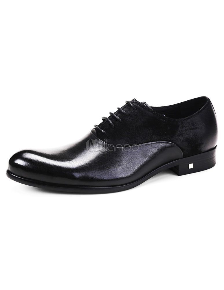 Oxford scarpe a nero uomo nero a tondo piatto Toe Lace Up pattini di   49feae
