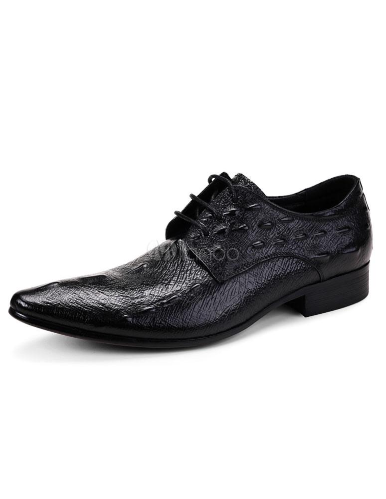 Pelle bovina vestito nero scarpe uomo coccodrillo Pattern in pelle pizzo-up  scarpe a punta ... 0b5912a78c6