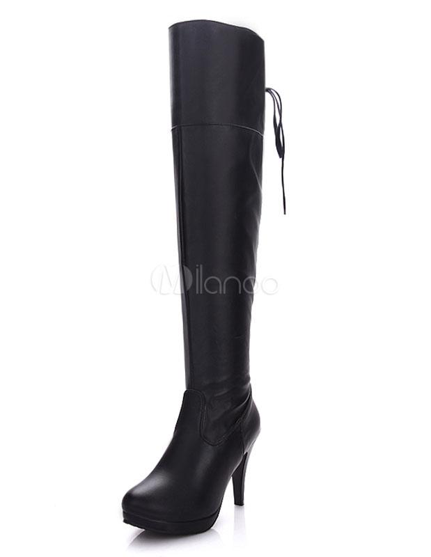 8fc54818ca9ed Bottes à talons noires sur la plate-forme du genou ronde Toe bottes  montantes pour ...