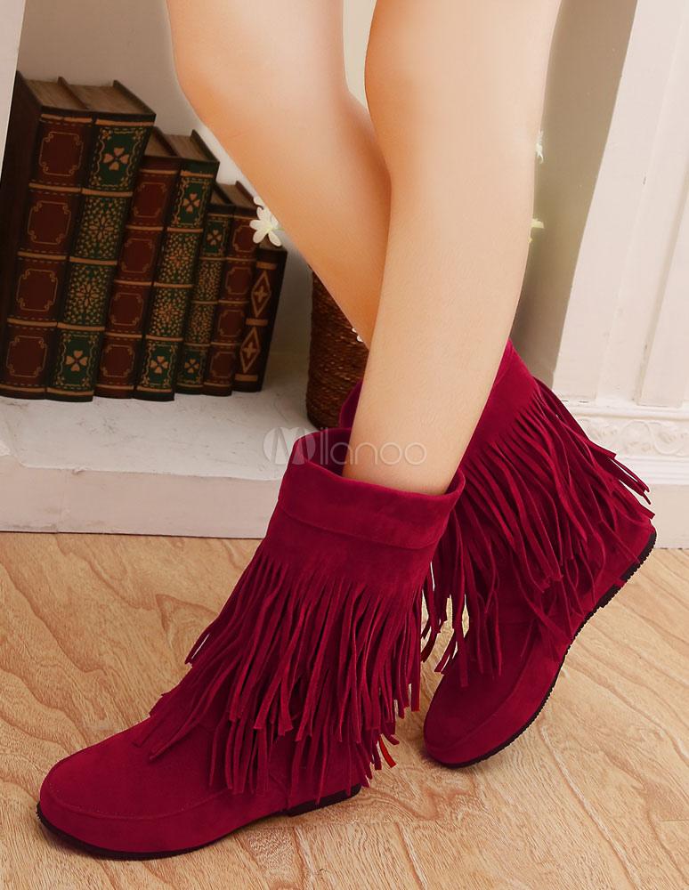 Bohemio botas tacón oculto franja de las mujeres alrededor del dedo del pie vaquera botas cortas lxkb84H5O