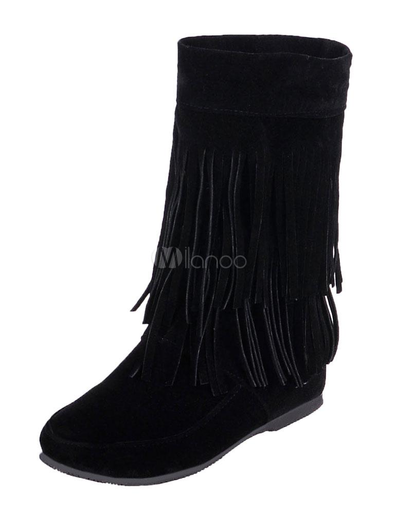 Bohemio botas tacón oculto franja de las mujeres alrededor del dedo del pie vaquera botas cortas pu4al4eC3