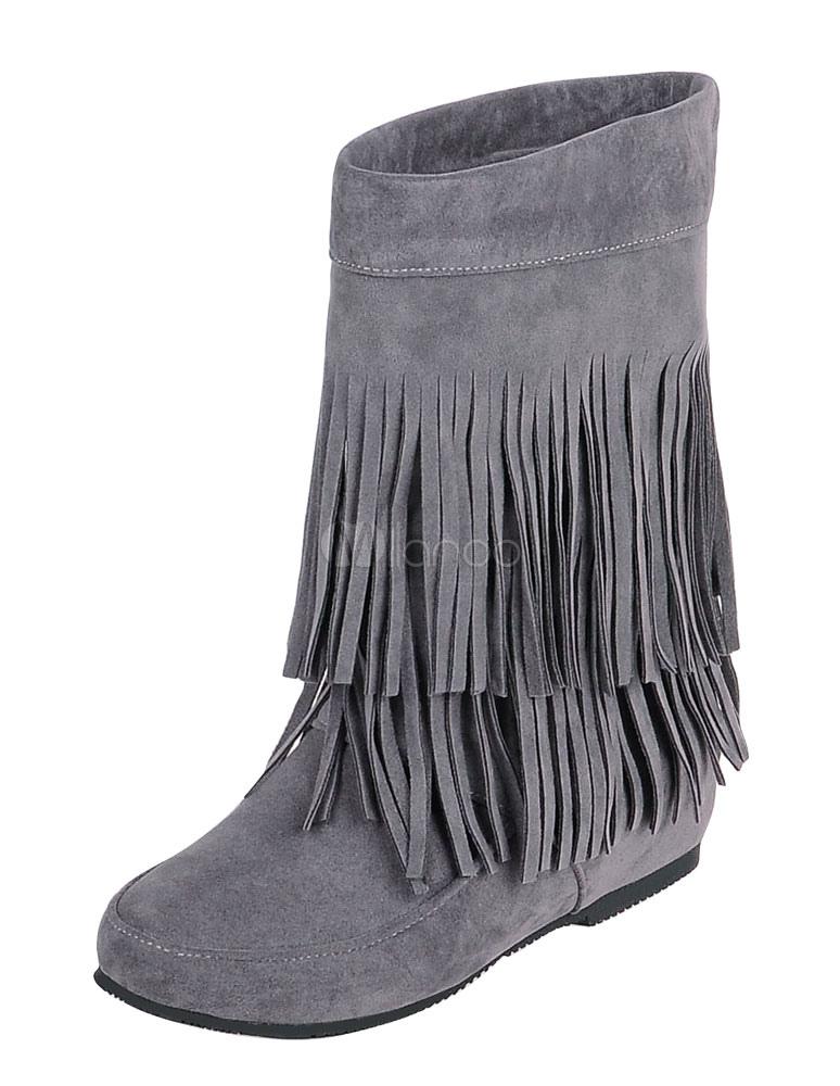 Bohemio botas tacón oculto franja de las mujeres alrededor del dedo del pie vaquera botas cortas GwJeG5pya