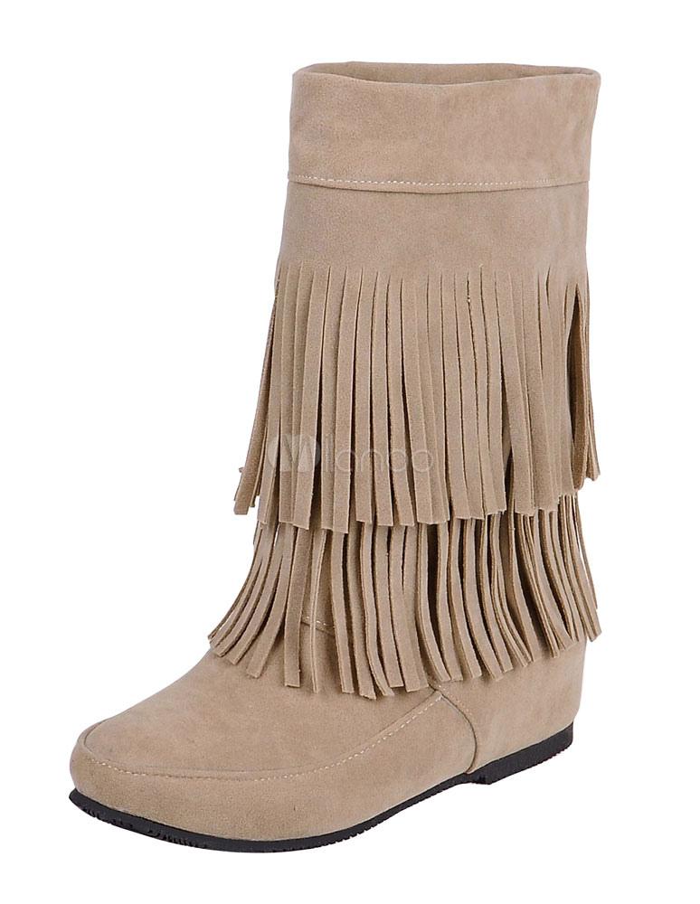 Bohemio botas tacón oculto franja de las mujeres alrededor del dedo del pie vaquera botas cortas o0nQoEz