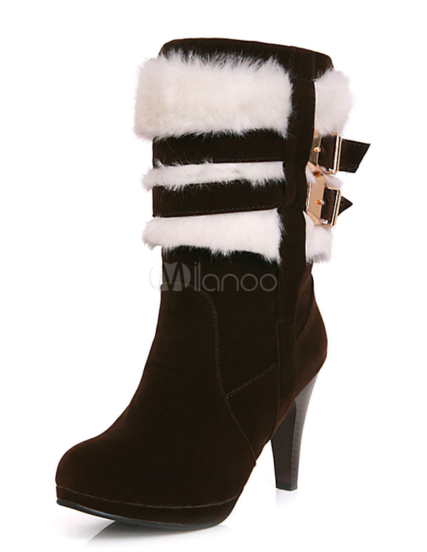 Black Heel Boots Suede Round Toe Faux Fur Buckle Short Boots For Women