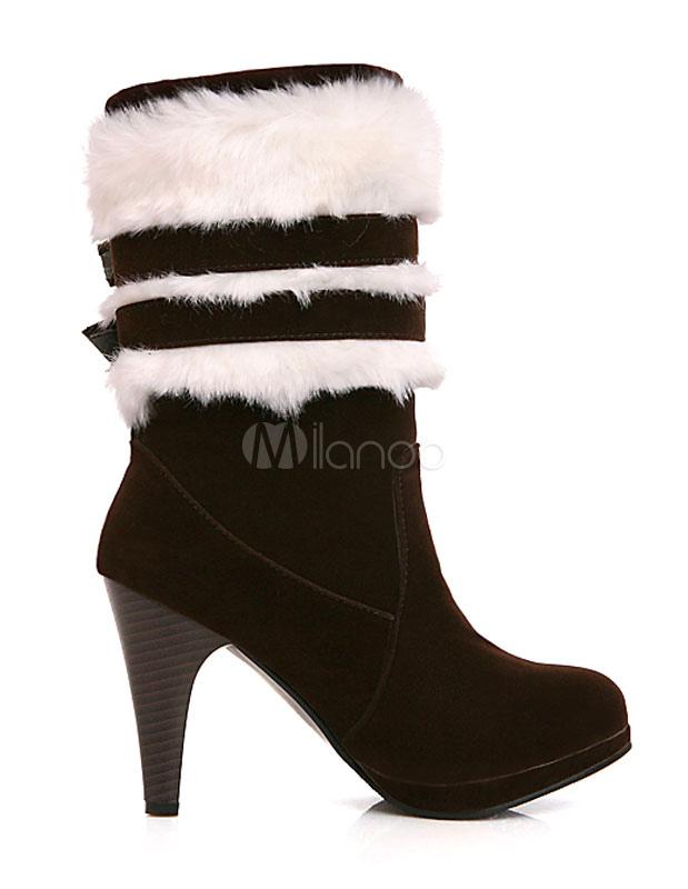 Botas de gamuza de tacón negro ronda Toe imitación de piel hebilla bota para mujeres iFMQKXcr