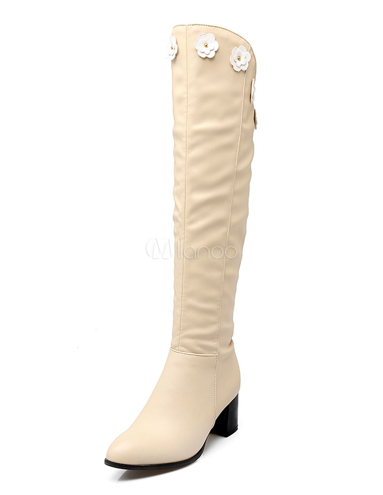 Milanoo / White Heel Boots Knee High Chunky Heel Women's Zipper Flower High Boots