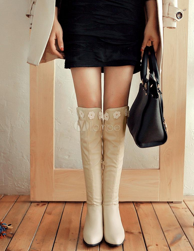 7a05520ee63d2 Blanco botas altas de tacón botas rodilla alto grueso tacón mujer  cremallera flor-No.