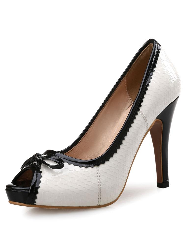Blanco plataforma Peep bombas arco zapatos de tacón alto para mujeres sAoVx0