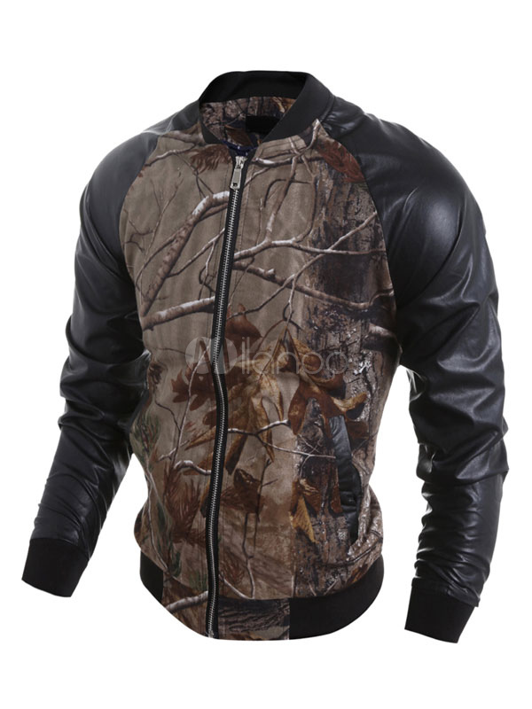 Milanoo / Men's Bomber Jacket Brown Casual Long Sleeve Printed Jacket With Zipper