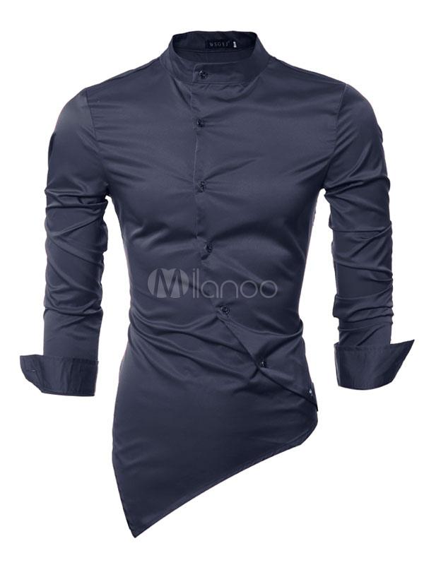 magasin officiel offre spéciale grande remise Chemise casual Hommes 2019 à manches longues rouge asymétrique design Slim  Fit Cotton Chemise Casual pour hommes