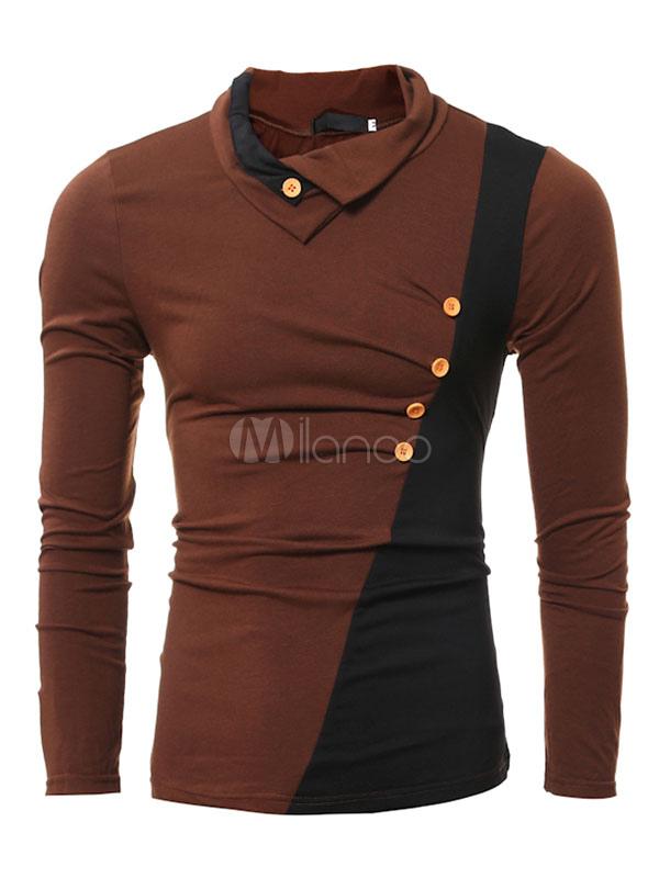 Duas cores manga longa Camiseta masculina espalhar moletom de algodão  ajuste fino gola com botões- ... 60e3be8bea5c0