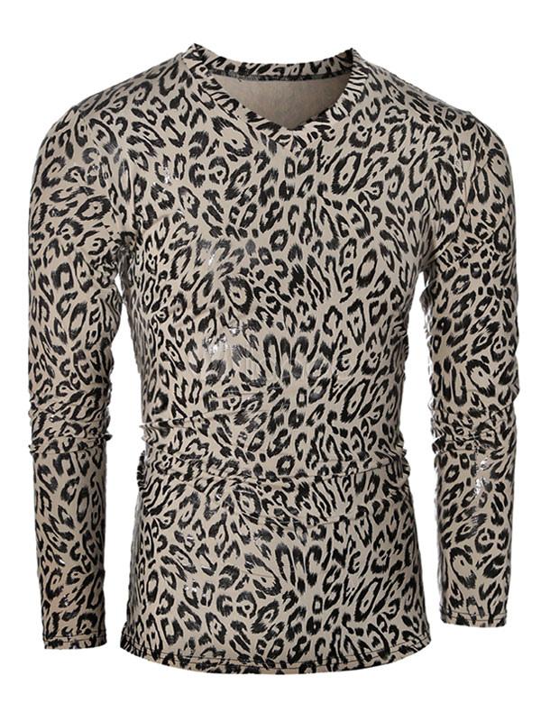Leopard Printed Tshirt Men's Long Sleeve V-Neck Cotton T Shirt