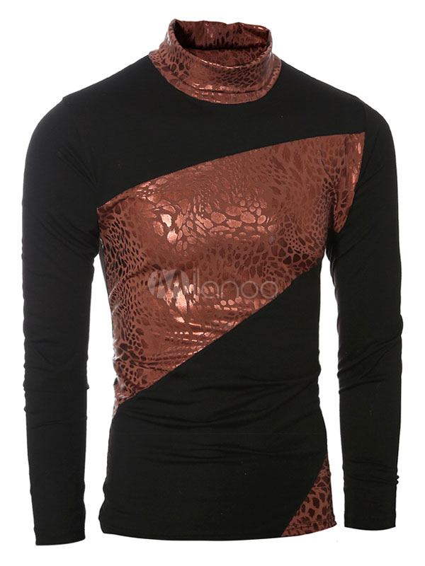 Buy Black Printed Tshirt Long Sleeve Cowl Neck Men's Cotton T Shirt for $16.99 in Milanoo store