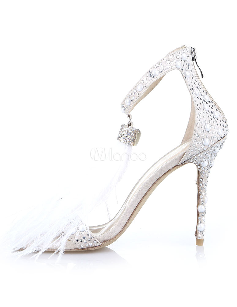 3d0d039e40e High Heel Sandals White Prom Shoes Open Toe Rhinestones Ankle Strap Evening  Shoes-No.