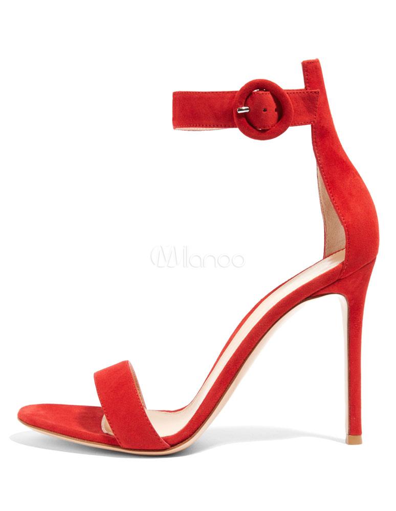 Rosso Pelle Alto Open Da Sposa In Tacco Sandali Toe Scamosciata 34ARL5qj